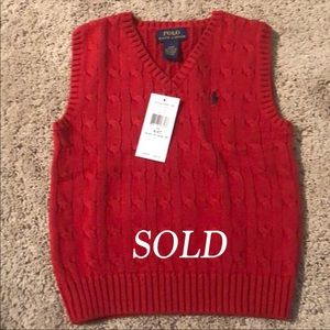 SOLD Brand new  red polo vest in time for fall